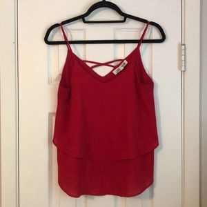 Red layered cami top